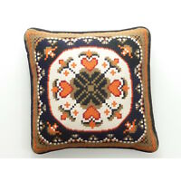 Vintage Floral Heart Needlepoint Pillow, Black Corduroy Back