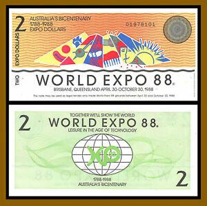 Australia 2 Dollars World Expo, 1988 Bicentenary (1788-1988) Unc