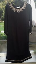 Monsoon Cotton Knit Dress in Black with Metallic Braided Trim, Size M