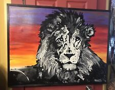 42 x 32 x 1 1/2 framed canvas lion Africa sunset Christmas shortiez Ink Large