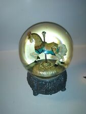 San Francisco Music Box Company snow Globe Carousel Metal Base 1992