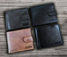 Personalised Engraved Genuine Leather Wallet RFID Birthday Anniversary Mens Gift