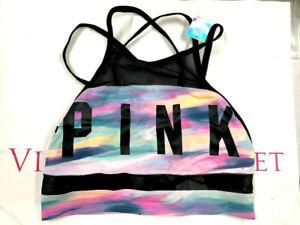 Victoria's Secret PINK Ultimate Unlined Strappy Sports Bra Sunset Tie Dye Logo