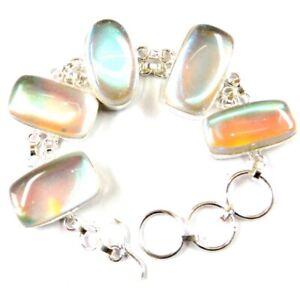 "180.00Cts Lovely Mystic Topaz Gemstone Silver Overlay Handmade Bracelet 8"""