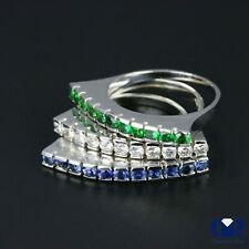 Natural 2.30 Ct Diamond Emerald & Sapphire Right Hand Ring & Cocktail Ring 14KWG