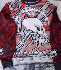 Precaryous Bike Cycling Jersey Long Sleeve Skull Design Arm Pads XL