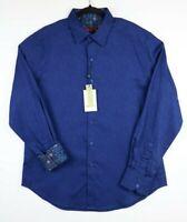 NWT Robert Graham Mens Medium Navy Blue Walden Classic Fit Long Sleeve Button Up