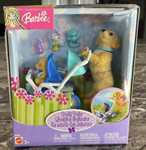 Mattel BARBIE Posh Pets Brown Dog & Puppy Stroller Blue NOS NIB #B6288 Labrador