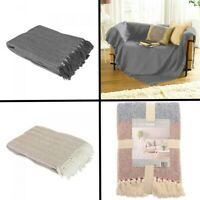Como 100% Cotton Soft Sofa Chair Bed Blanket Throw Throwover Grey Natural Multi