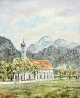 Wallfahrtskirche St. Coloman & Schloss Neuschwanstein im Allgäu, sign. Aquarell