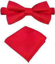 Fliege + Einstecktuch Schleife Querbinder Binder de Luxe 604 rot Krawatten
