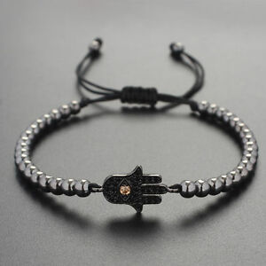 New Style Men Gold Plated Hamsa Evil Eye & 4MM Beads Braiding Macrame Bracelets