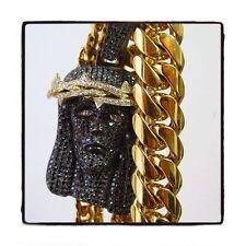 Mens Diamond 10k White Gold Round Cut G Color Jesus Piece 22.30ct