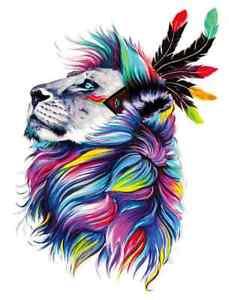 rainbow lion head iron on t shirt transfer A5