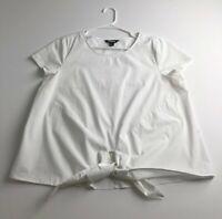 Project Runway Women's Short Sleeve Blouse Top Large L White Crewneck Tie Front