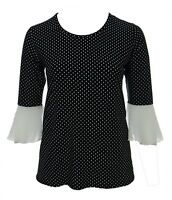 Ladies Size 16-26 Black White Polka Pleated Flared Cuff Stretch Top Womens New