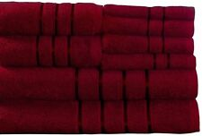 Lavish Home 8 Piece 100 Cotton Plush Bath Towel Set Burgundy