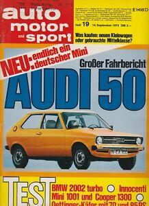 auto motor sport Heft 19 September 1974 Test Mini Cooper 1300 Oetinger Käfer