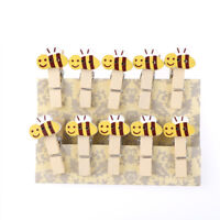 Cartoon Bee Wood Clips Photo Paper Pegs Clothespin Craft Decor with Hemp Rope Gy
