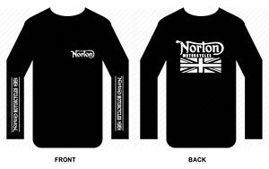 Norton T shirt Long sleeve motorbike motorcycle biker vintage Flag