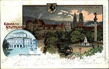 STUTTGART Litho-AK Hof-Theater Schloss-Platz 1901 AK nach Pfedelbach gelaufen