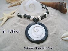 BRAND NEW SHIVA EYE SHELL BLACK BEAD PENDANT CORD NECKLACE LUCKY SURFER / n176gy