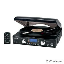 CONVERT LP to MP3 / CDs 3-SPEED STEREO RECORD PLAYER TURNTABLE w/ USB SD PORT