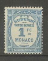"""MONACO STAMP TIMBRE TAXE N° 27 """" 1F BLEU CLAIR 1932 """" NEUF xx TB"""