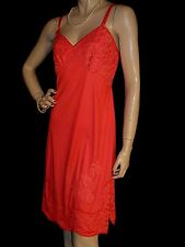 34 Nos Vintage 60s 70s Red Nylon Lace Applique Aristocraft Superior Full Slip
