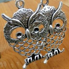 Steampunk silver color Victorian goth earrings pendant charm WISE OWL wedding