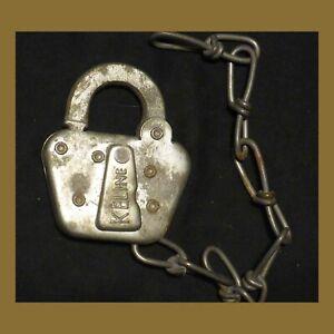 Antique Steel Railroad lock - KELINE printed on the key hole cover-Brass shackle