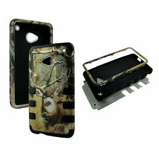 Hybrid Tuff 9 Points Camo Deer  Case for HTC One M7 Cover Shock Prof