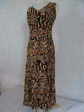 VINTAGE Gioielli Vestido marrón / Negro Estampado Talla UK 8 390b