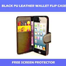 BLACK PU LEATHER FLIP WALLET CASE FOR iPHONE 6/6S WITH FREE SCREEN PROTECTOR!!