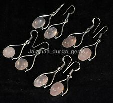 20 Pair Lot Natural Rose Quartz 925 Sterling Silver Plated Dangle Earrings Be8
