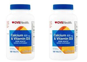 Pack of 2 - CVS Health Calcium & Vitamin D3 Tablets 600mg 120CT