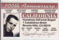 Humphrey Bogart the African Queen plastic  collector card Drivers License