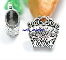 3pcs Tibetan Silver Stripe Bails Finding Connector Fit Pendant Necklace 17x8mm