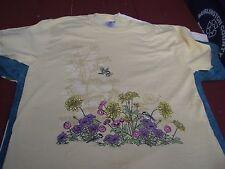 tshirt womens medium JERZEES yellow Chickadees & Flowers 50/50