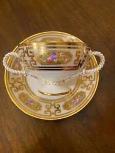 Rare Antique Brown Westhead & Moore Rope Handle Cup & Saucer Set