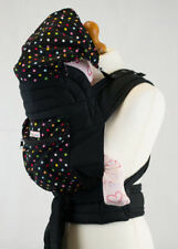 Mei Tai Baby Carrier Sling With Hood & Pocket - Black With Small Polka Dots