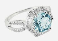 Zauberhafter Ring mit  facettierte Blautopas 925er  Sterlingsilber