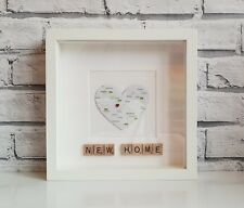 New Home Scrabble Map Frame (Personalised • Housewarming • Home Sweet Home)