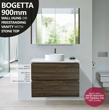 BOGETTA | 900mm Walnut Oak PVC Thermal Foil Timber Wood Grain Vanity w Stone Top