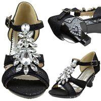 Girls T-Strap Pageant High Heel Dress Sandals w/ Rhinestone Jewel Black Sz 10-5