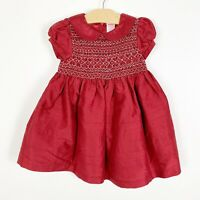 Gymboree Girls Red White Smocked Dress Size 18-24 Months