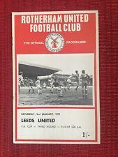 Rotherham v Leeds Utd FA Cup Programme, 2/1/1971