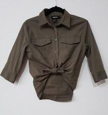 DKNY designer ladies shirt size AU 10 army green miliary shirt EUC safari #048
