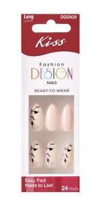 Kiss FASHION DESIGN Long Length Full Cover Shiny Pale Pink Stiletto Shaped Nails