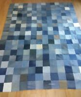 Twin Size Unfinished Denim/ Jean Quilt Top 56x 94